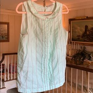 Mint Green Sleeveless Top w/ Grey Trim/Embroidery